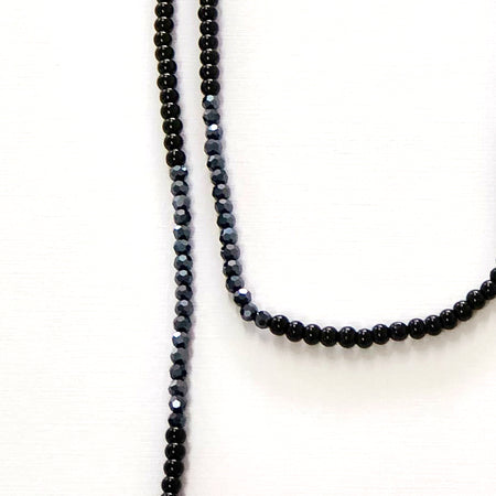 Black & Navy Long Bead Necklace