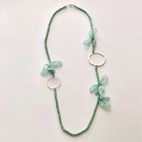 Teal & Silver Flower Necklace