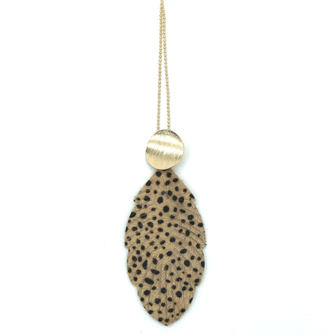Leaf shape necklace- Tan spot print