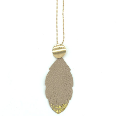 Leaf shape necklace - Light tan with gold edge