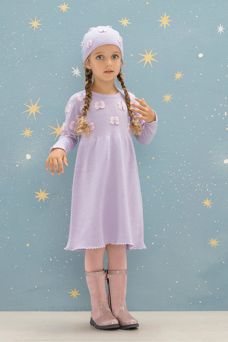 Girl - Anna 100% Cashmere Fairy Dress with Crochet Butterfly Detail
