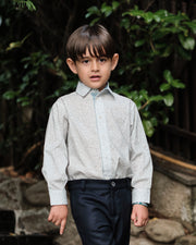 Boy - Oliver 100% Cotton Classic Collar Shirt With Floral Prints