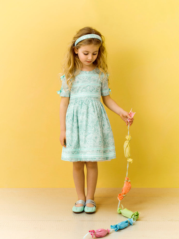 Girl - Lizzie 100% Cotton Dress With Ribbon