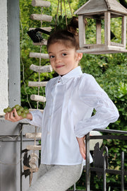 Girl - Sabine 100% Cotton Blouse With Pleats