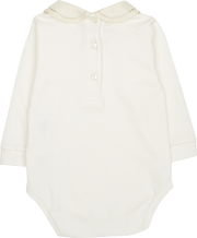 Baby Girl - 100% Pima Cotton Bodysuit With Peter Pan Collar And Contrasting Detail