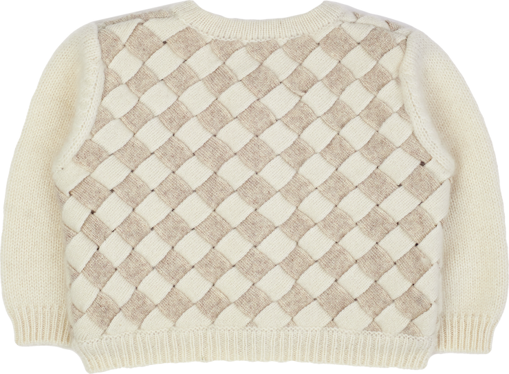 Baby Girl - Cashmere Cardigan With Round Neck And Two Colour Woven Design