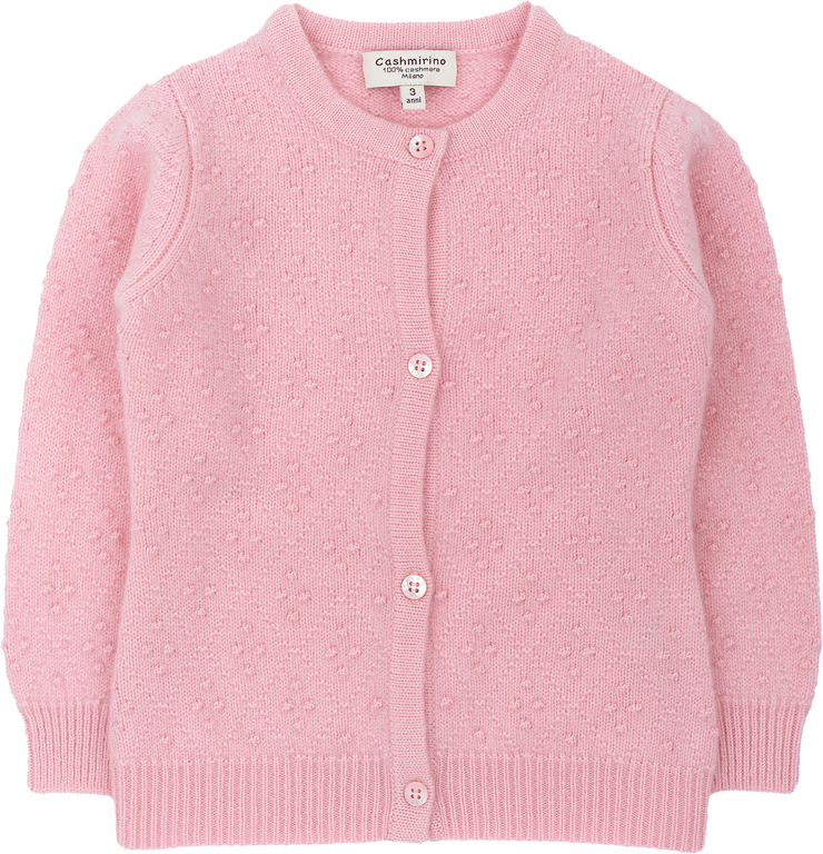 Girl - 100% Cashmere Cardigan With Round Neck And Diamond Dot Embroidery