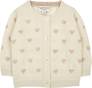 Baby Girl - Mila 100% Cashmere Heart Intarsia Cardigan With Internal Contrast