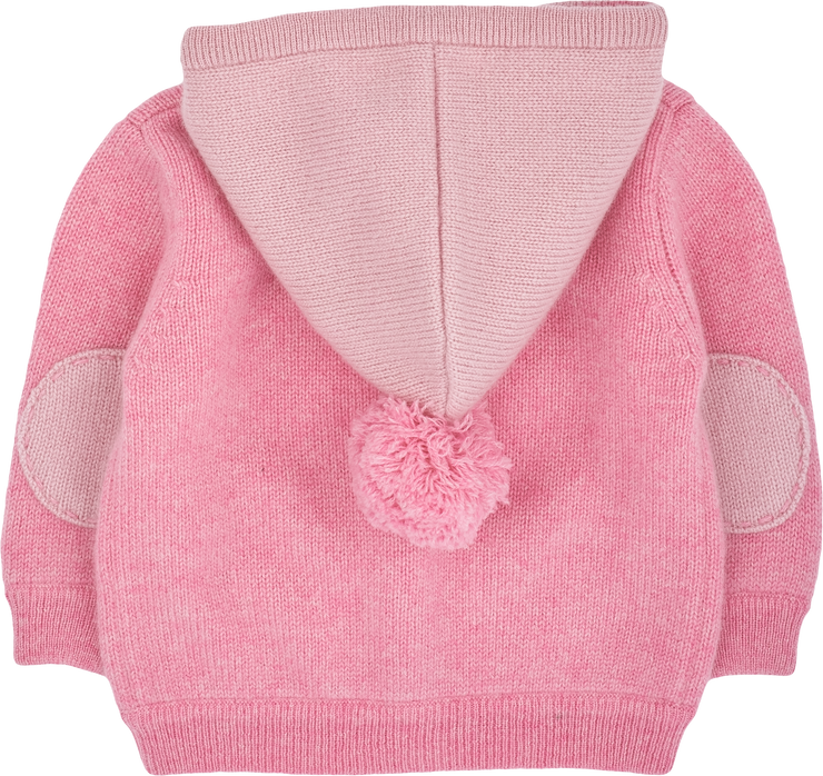 Baby Girl - 100% Cashmere Cardigan Hoodie With Mitten Style Pockets