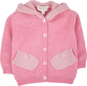 Baby Girl - Cashmere Cardigan Hoodie With Mitten Style Pockets