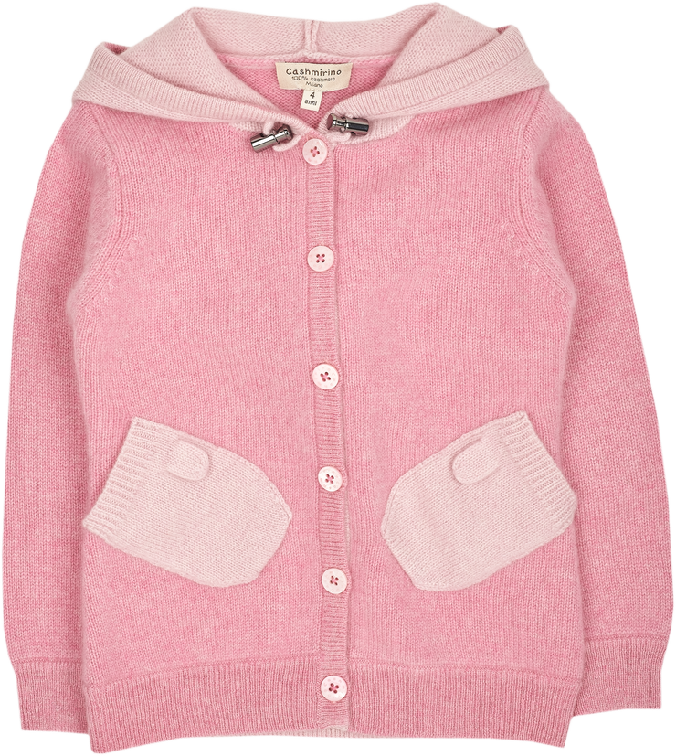 Girl - Paola  100% Cashmere Cardigan Hoodie With Mitten Style Pockets