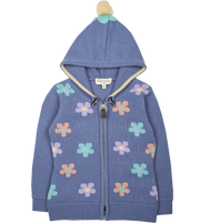 Girl - Aster 100% Cashmere Hoodie Cardigan With Floral Intarsia