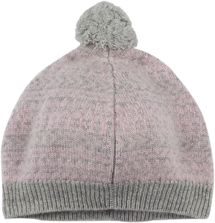 Girl - 100% Cashmere Beret Hat With Jacquard Pattern And Pom-Pom