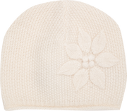 Baby Girl - Cashmere Hat With Rice Stitch, Embroidered Flowers And Roll Up Border