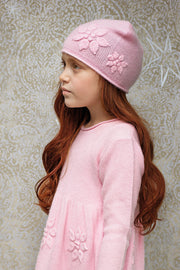 Baby Girl - 100% Cashmere Hat With Rice Stitch, Embroidered Flowers And Roll Up Border