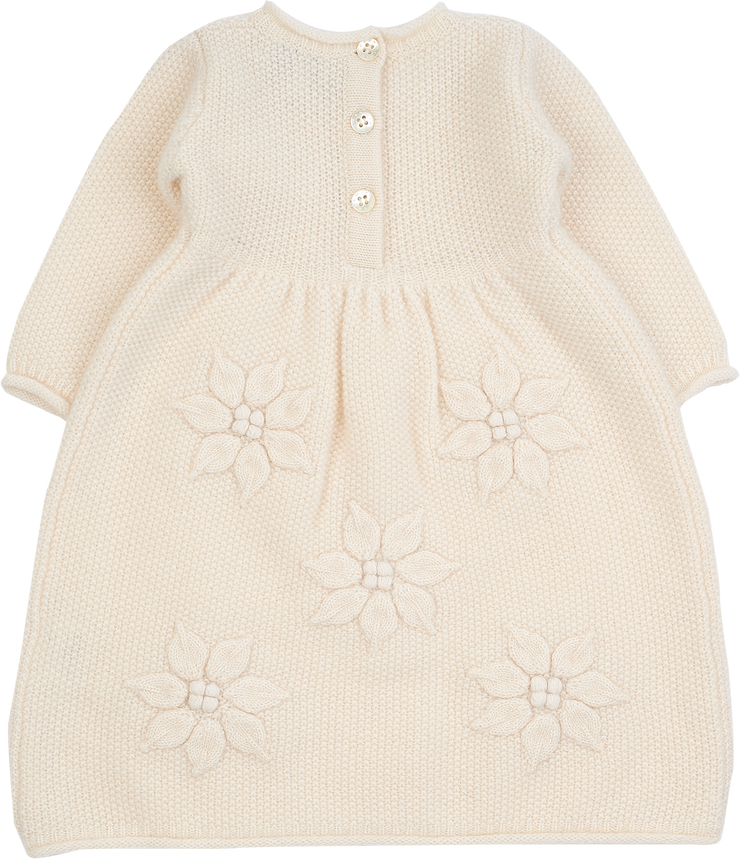 Baby Girl - Cashmere Dress With Applique Flowers And Rice Seed Stitching