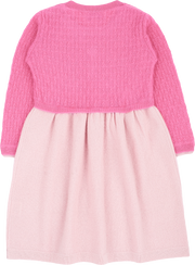 Baby Girl - 100% Cashmere Knitted Dress With Attached Cardigan