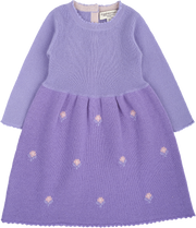 Baby Girl - Cashmere Midi Dress With Intarsia Flowers