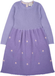 Girl - Cashmere Midi Dress With Intarsia Flowers