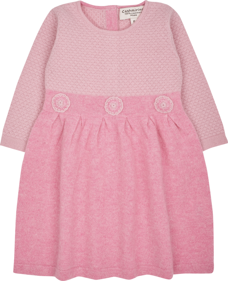 Baby Girl - Cashmere Bobble Stitch With Crochet Floral Knit Dress