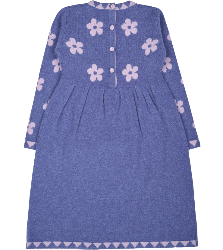 Girl - Bea 100% Cashmere Dress with Floral Intarsia