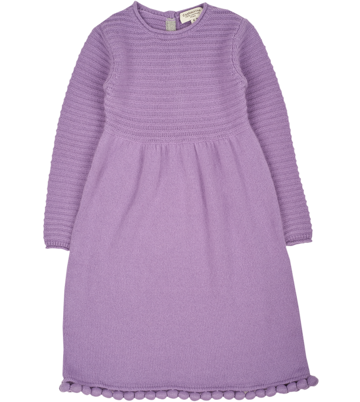 Girl - 100% Cashmere Knitted dress with Bobble Detail Hem