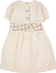 Baby Girl - Cashmere Dress With Two Colour Woven Design