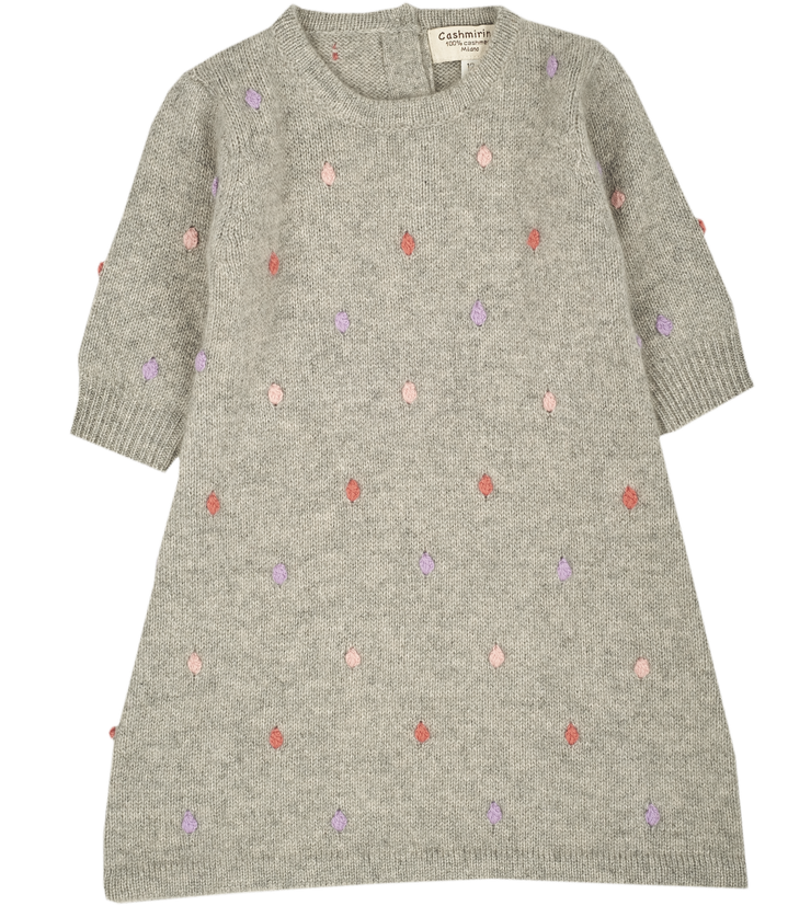 Girl - 100% Cashmere Midi Dress with dot detail