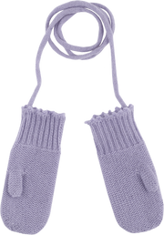 Baby Girl - Cashmere Knitted Mittens With Crochet Border And String