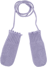 Baby Girl - 100% Cashmere Knitted Mittens With Crochet Border And String
