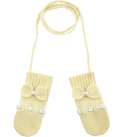 Baby Girl - 100% Cashmere Mittens With Contrasting In And Out Detail And Bow