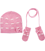 Baby Girl - Cashmere Mittens With Contrasting In And Out Detail And Bow