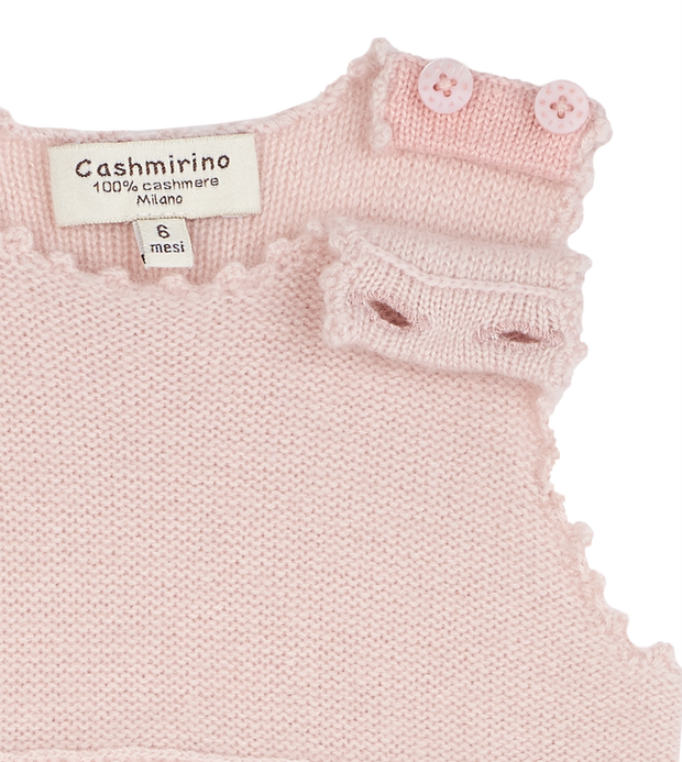 Baby Girl - Cashmere Suspender Romper With Handmade Crochet Flowers