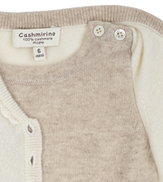 Baby Girl - Cashmere Romper With Crochet Collar And Attached Cardigan