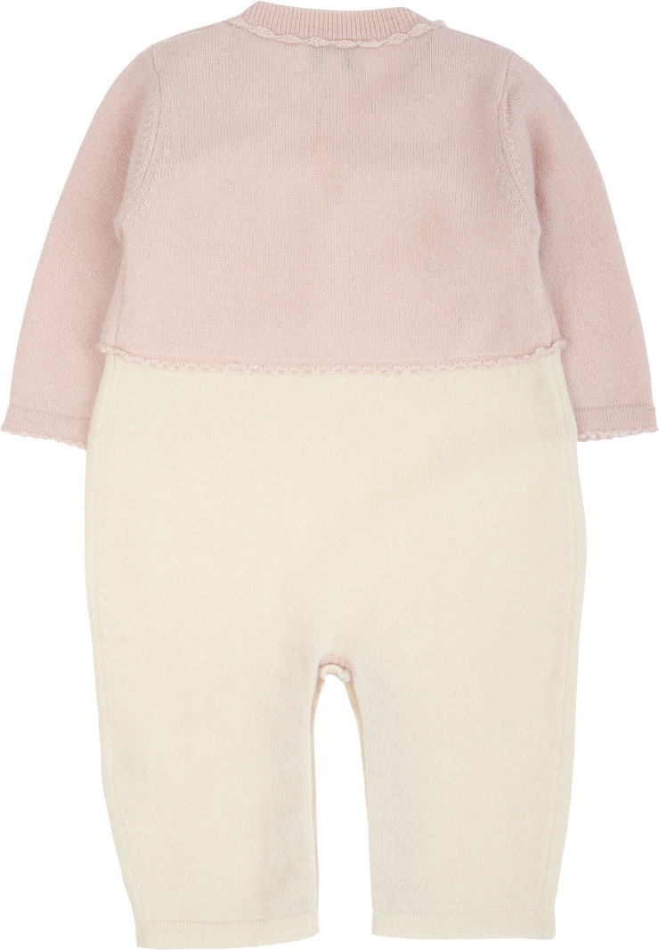 Baby Girl - 100% Cashmere Romper With Crochet Collar And Attached Cardigan