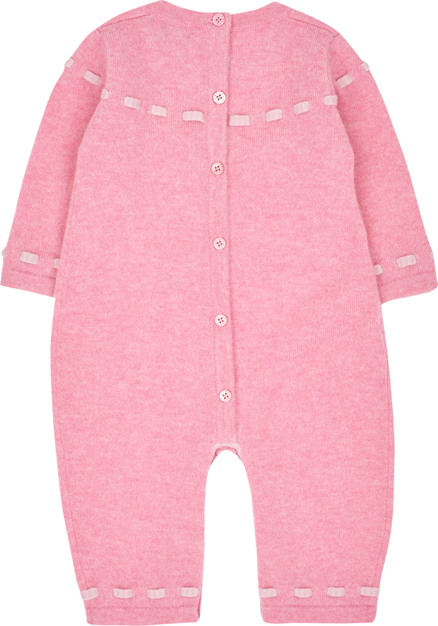 Baby Girl - Cashmere Romper With Contrasting In And Out Detail And Bow