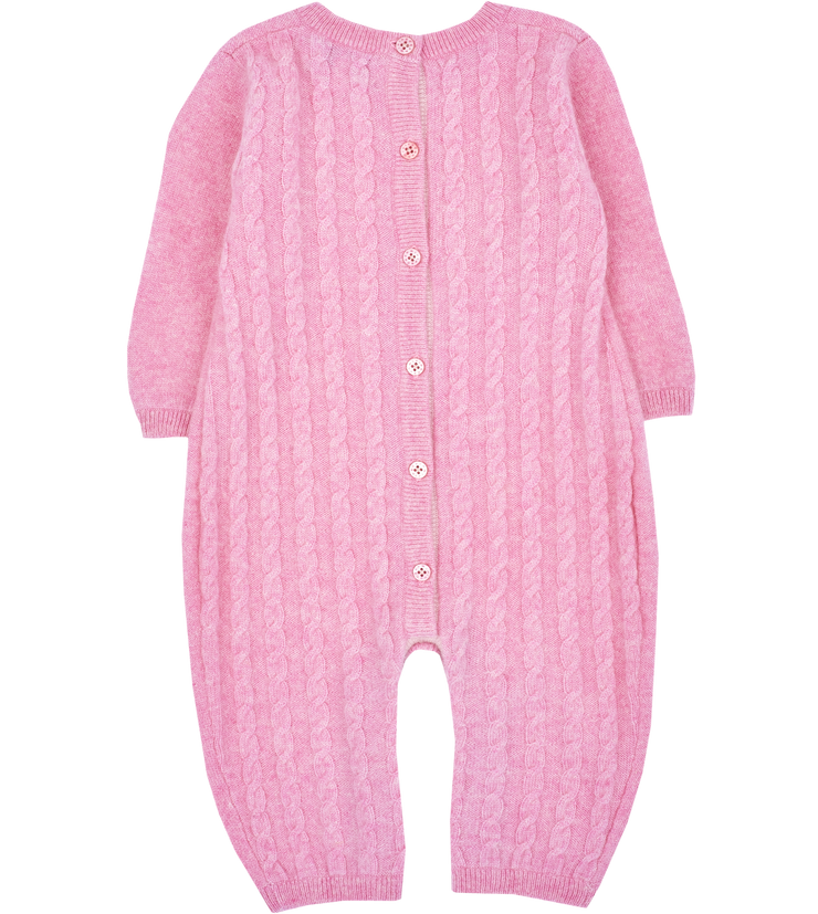 Baby Girl - Drew 100% Cashmere Romper With Cable Knit Panel