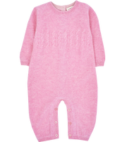 Baby Girl - Cashmere Romper With Cable Knit Panel