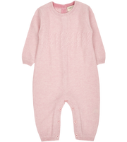 Baby Girl - Drew Cashmere Romper With Cable Knit Panel