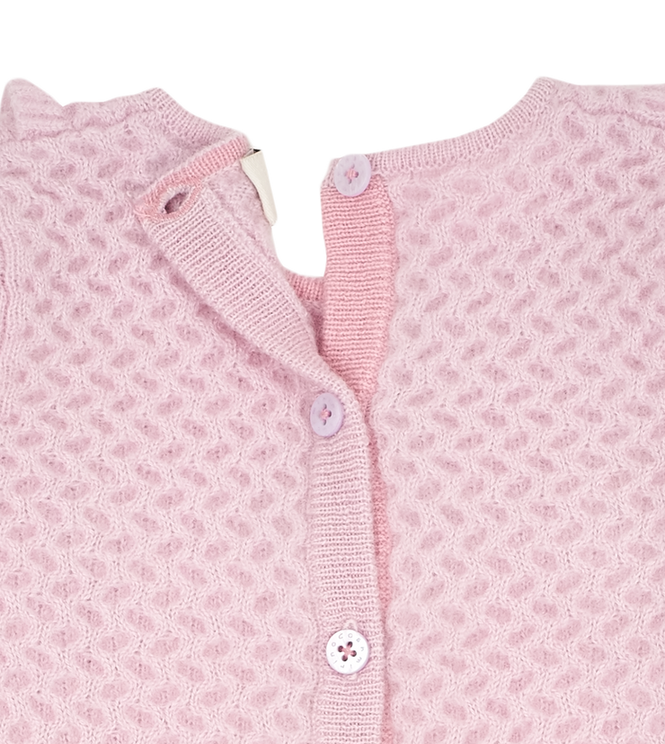 Baby Girl - Cashmere Romper with Honeycomb Stitch