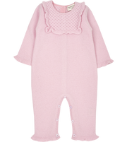 Baby Girl - Cashmere Romper with Honeycomb Stitch Detail and Internal Contrasts