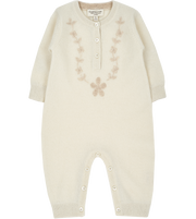 Baby Girl - Laurel Cashmere Romper with Contrasting Floral Embroidery