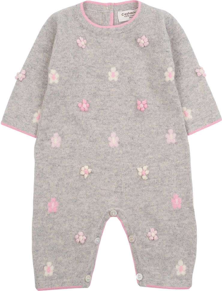 Baby Girl - 100% Cashmere Romper with Embroidery and Intarsia Flowers