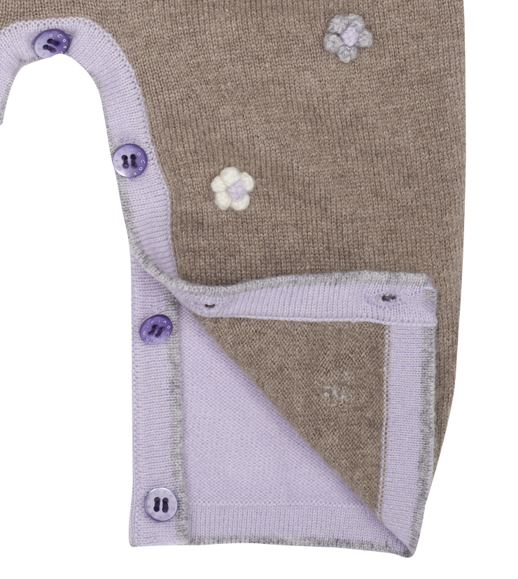 Baby Girl - Cashmere Romper With Classic Collar and Flowers