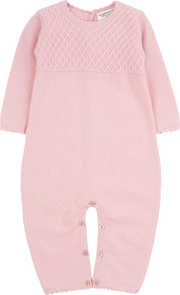 Baby Girl - 100% Cashmere Romper With Diagonal Stitch Panel