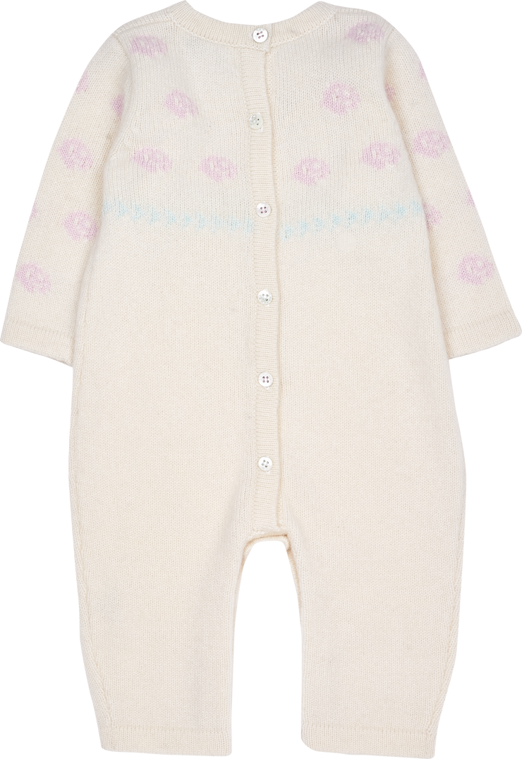 Baby Girl - Cashmere Romper With Rose Intarsia Detail