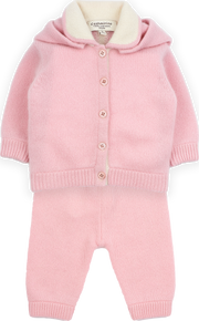 Baby Girl - Cashmere Cardigan With Detachable Pom-Pom Hood And Leggings Set