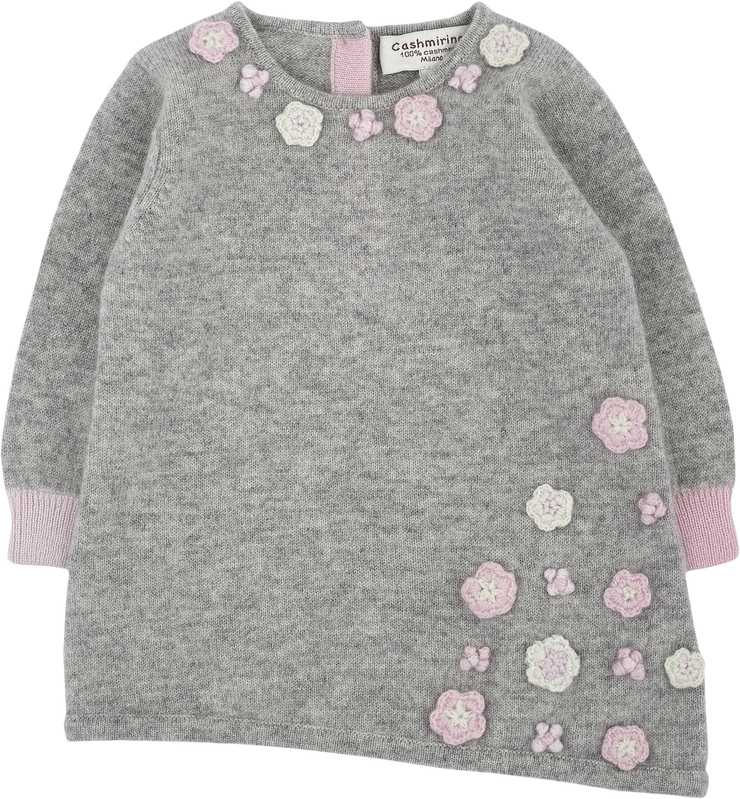 Baby Girl - Cashmere Asymmetric Top With Floral Embroidery and Leggings Set