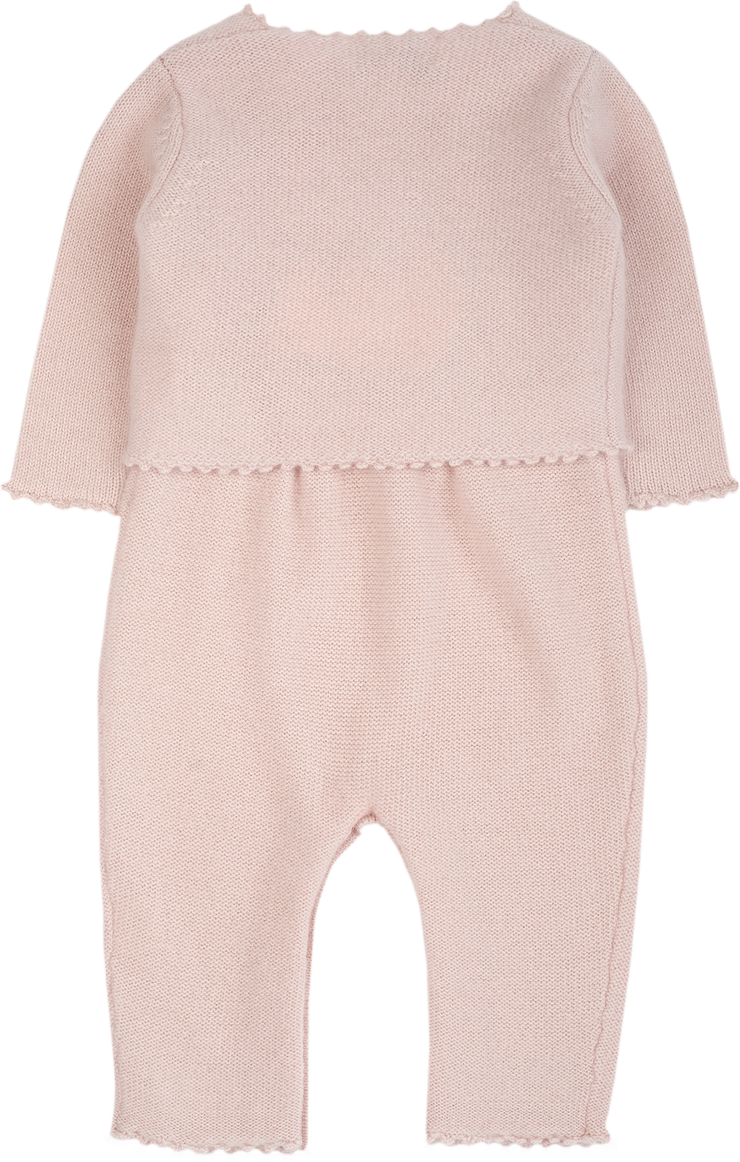Baby Girl - 100% Cashmere Suspender Romper And Cardigan With Crochet Flowers Set