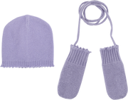 Baby Girl - Cashmere Hat And Mittens With Crochet Border And String Set